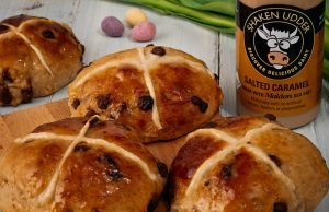Salted caramel hot cross buns. Picture; Shaken Udder