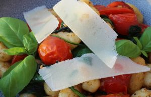 Pan-fried Potato Gnocci, Sautéed Honeycomb Tomatoes and Spinach. Picture; Burpee Europe